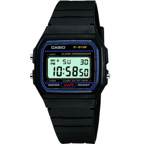 Casio Watches Casio Classic Unisex Black Alarm Chronograph Watch F-91W-1YER