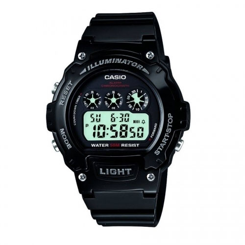 Casio Sport Men's Black Alarm Chronograph Watch W-214HC-1AVEF