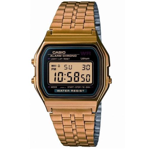 EX DISPLAY :Casio Gold Black Dial Retro Watch