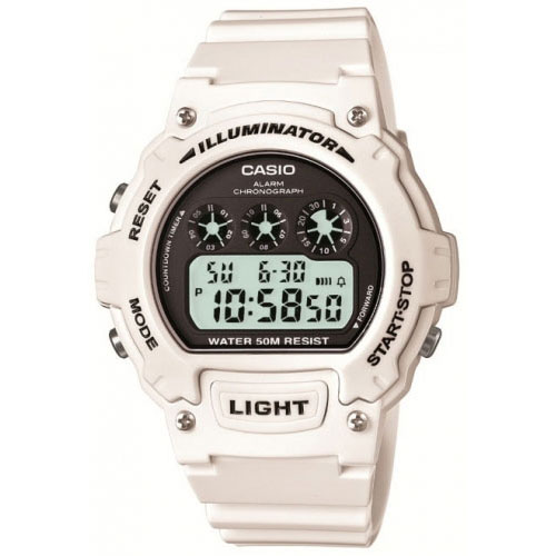 Casio Sport Men's White Alarm Chronograph Watch W-214HC-7AVEF