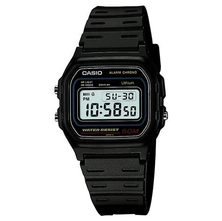 Casio Retro Alarm Men's Black Chronograph Watch W-59-1VQES