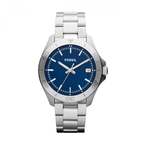 Fossil Traveller Men's Silver & Blue Watch AM4442