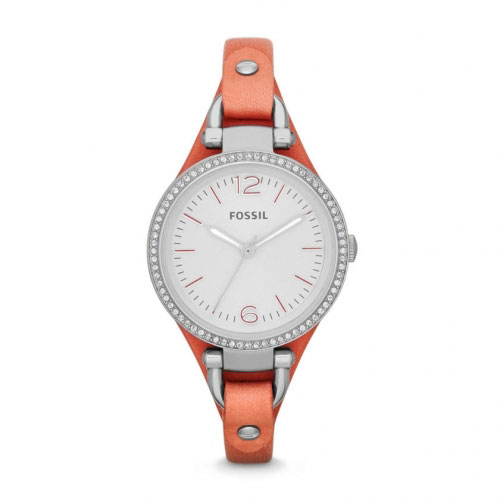 Fossil Fossil Georgia Cuff Ladies Silver & Coral Pink Watch ES3468