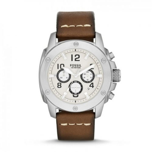 Fossil Fossil Modern Machine Men's Silver & Brown Chronograph Watch FS4929