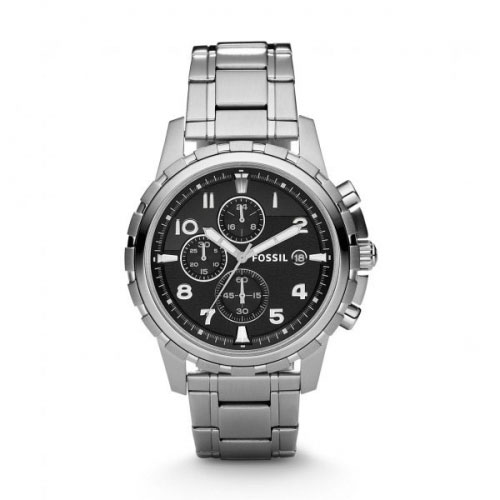 Fossil Fossil Dean Men's Silver & Black Chronograph Watch FS4542