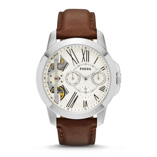 Fossil Grant Men's Silver & Brown Watch ME1144
