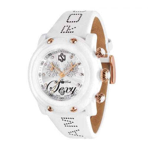 Glam Rock Crazy Sexy Cool White Chronograph Watch