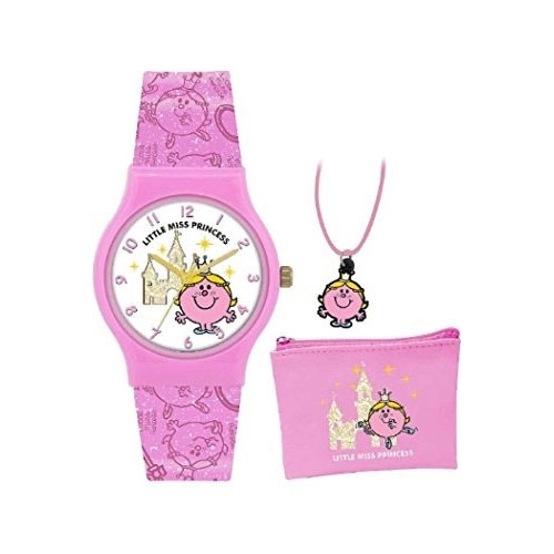 Little Miss Princess Quartz Watch with White Dial Analogue Display and Pink PU Strap LM0001SET