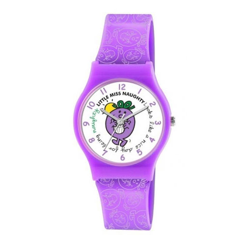 Little Miss Naughty Quartz Watch with White Dial Analogue Display and Purple PU Strap LM0004
