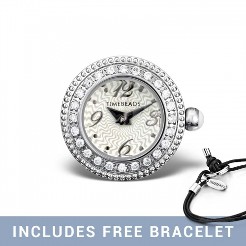 Timebeads White & CZ Round Watch Charm with Screw Fastening TB1018CZWH