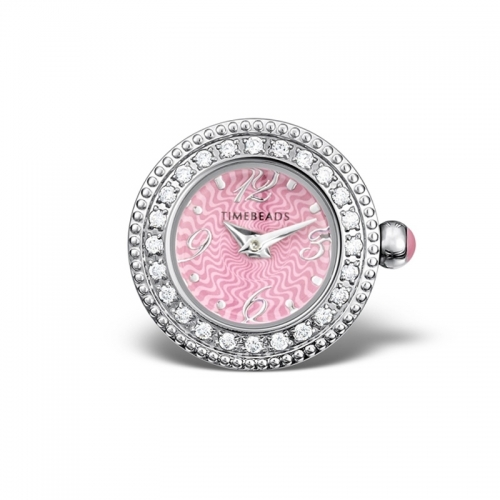 Timebeads Pink CZ Round Face with Screw Fastening TB1019CZPK