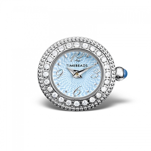 Timebeads Blue CZ With Round Face with Screw Fastening TB1020CZBL