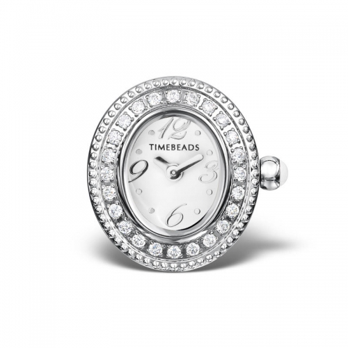 Timebeads White Oval Watch Charm with CZ and Screw Fastening TB1002CZWH