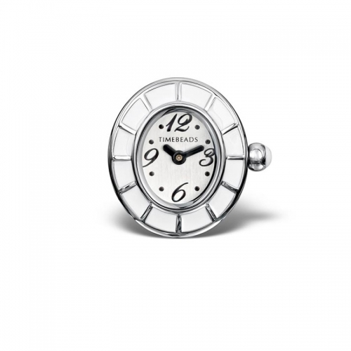 Timebeads White & Enamel Oval Watch Charm with Screw Fastening TB1008WH