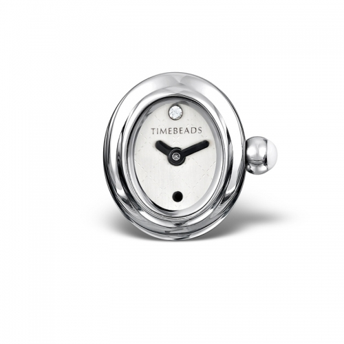 Timebeads White Oval Watch Charm with Clip Fastening TB1011WH