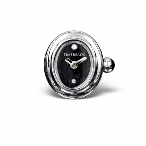 Timebeads Black Oval Watch Charm With Clip Fastening TB1010BK
