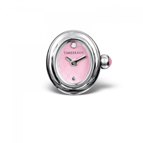 Timebeads Pink Oval Watch Charm with Clip Fastening TB1012PK