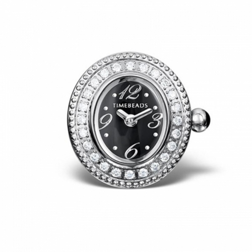 Timebeads Black & CZ Oval Watch Charm with Clip Fastening TB2001CZBK
