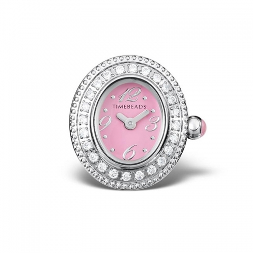 Timebeads Pink and CZ Oval Face with Clip Fastening TB2003CZPK