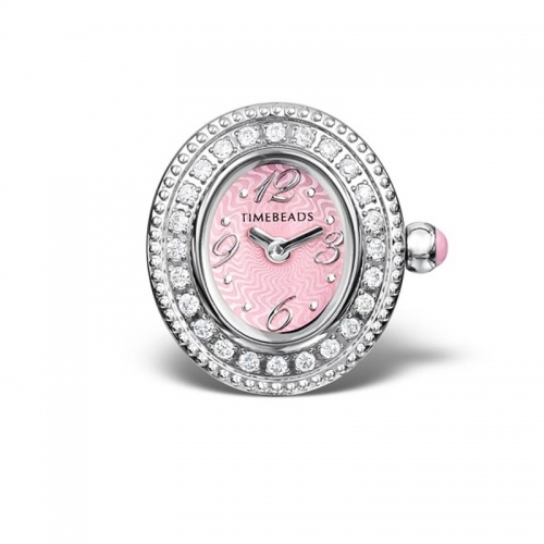 Timebeads Pink and CZ Oval Face with Clip Fastening TB2006CZPK