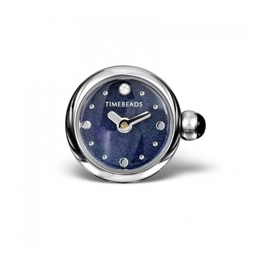 Timebeads Dark Blue Round Watch Charm with Clip Fastening TB2013BK