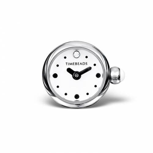 Timebeads White Round Face with Clip Fastening TB2014WH