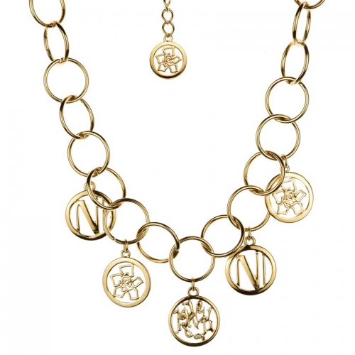 Nicky Vankets Gold Disc Link Necklace