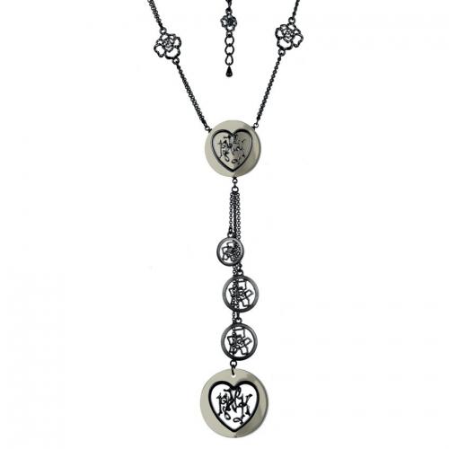 Nicky Vankets Gunmetal Dangle Necklace