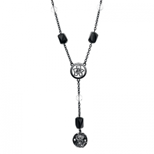 Nicky Vankets Black and Gunmetal Silver Drop Necklace