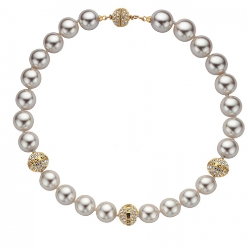 Nicky Vankets Gold Shamballa Pearl Necklace