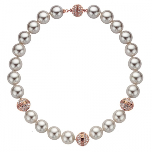 Nicky Vankets Rose Gold Shamballa Pearl Necklace