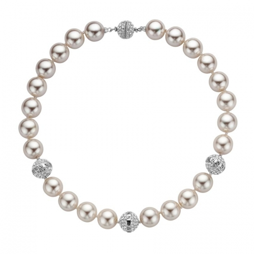 Nicky Vankets Silver Shamballa Pearl Necklace