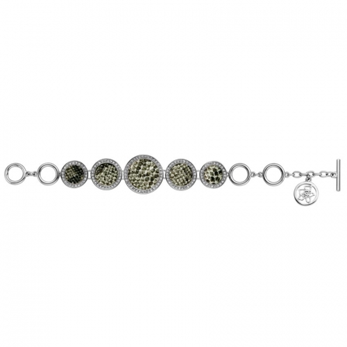 Nicky Vankets Silver and Snake Skin Disc Bracelet