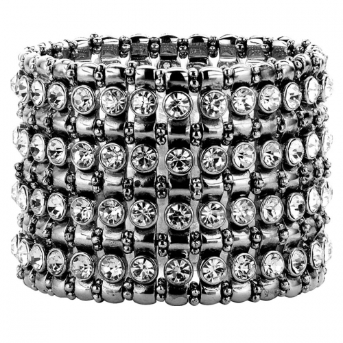 Nicky Vankets Silver Beads and CZ Stack Bracelet