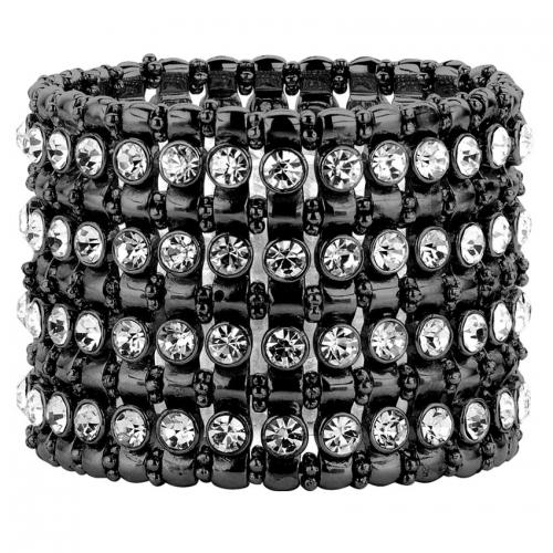 Nicky Vankets Black Bead and CZ Stack Bracelet