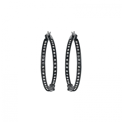 Nicky Vankets CZ Set Gunmetal Hoop Earrings