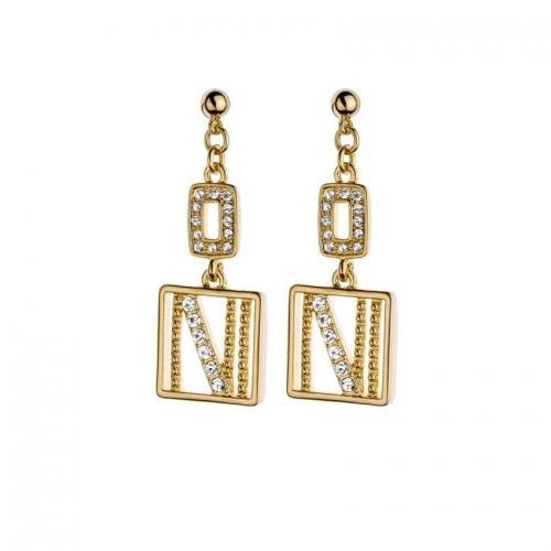 Nicky Vankets Gold Logo Dangle Earrings
