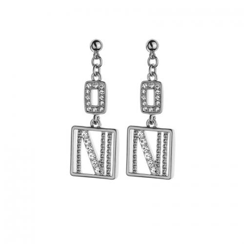 Nicky Vankets Silver Logo Dangle Earrings