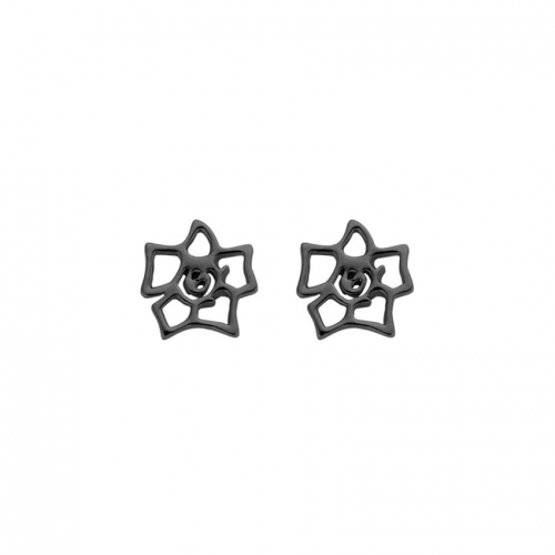 Nicky Vankets Gunmetal Logo Stud Earrings
