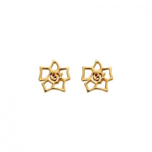 Nicky Vankets Gold Logo Stud Earrings