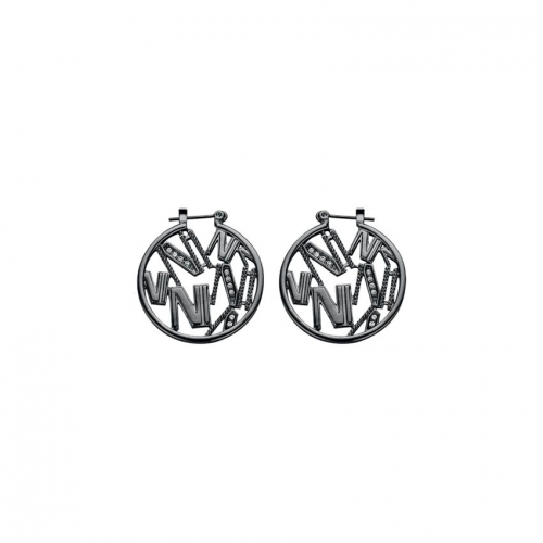 Nicky Vankets Gunmetal Cut-out Logo Earring Hoops