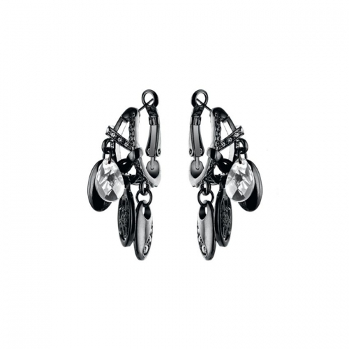 Nicky Vankets Gunmetal Disc Dangle Earrings