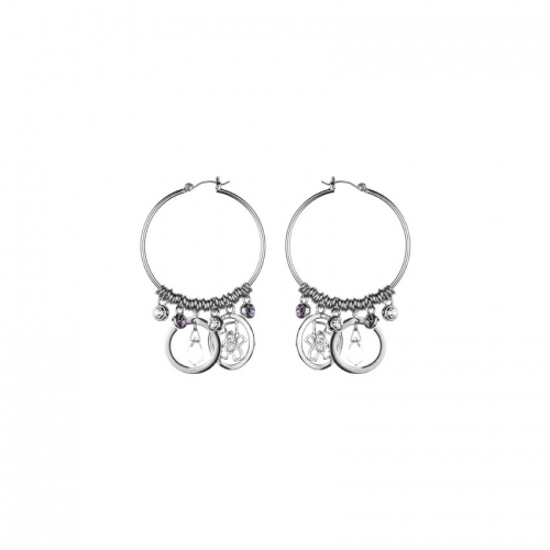 Nicky Vankets Silver Dangle Hoop Earrings