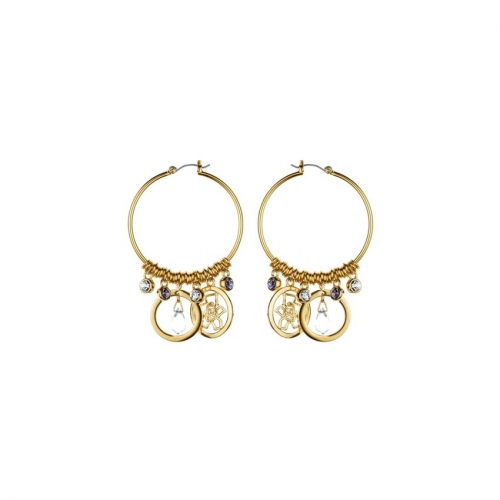 Nicky Vankets Gold Dangle Hoop Earrings