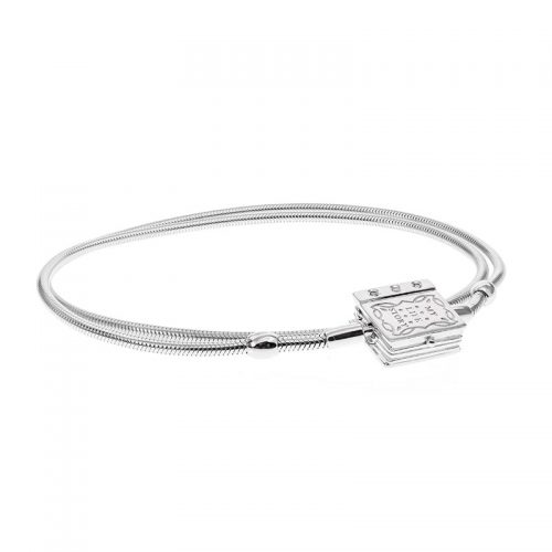 Storywheels Silver Necklace with Book Clasp N014SD 45CM