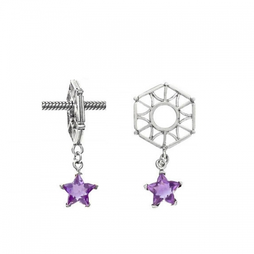 Storywheels Silver Hexagon with Amethyst Star Dangle Charm S003A