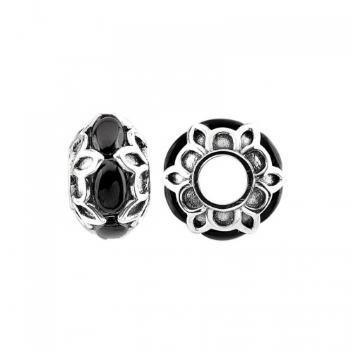 Storywheels Oxidised Silver & Onyx Patterned Charm S483ON