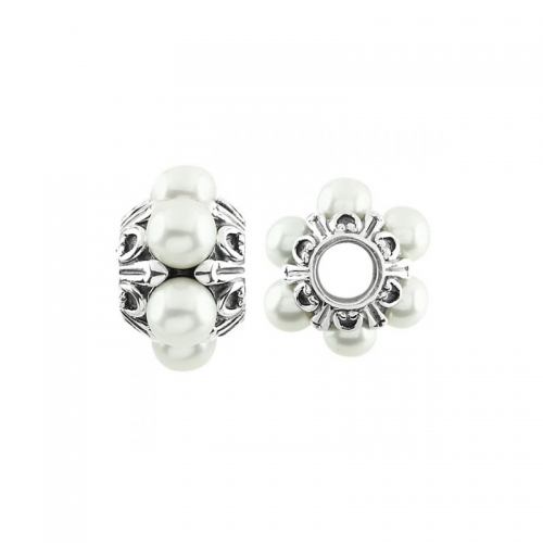 Storywheels Oxidised Silver & Pearl Wheel Charm S380PRL