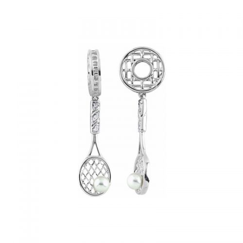 Storywheels Silver Wheel with Pearl and Diamond Tennis Racket Dangle S317PRL