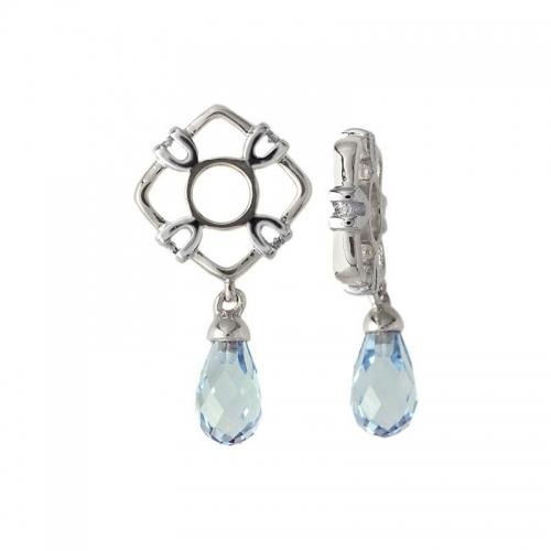 Storywheels Silver Diamond and Sky Blue Topaz Drop